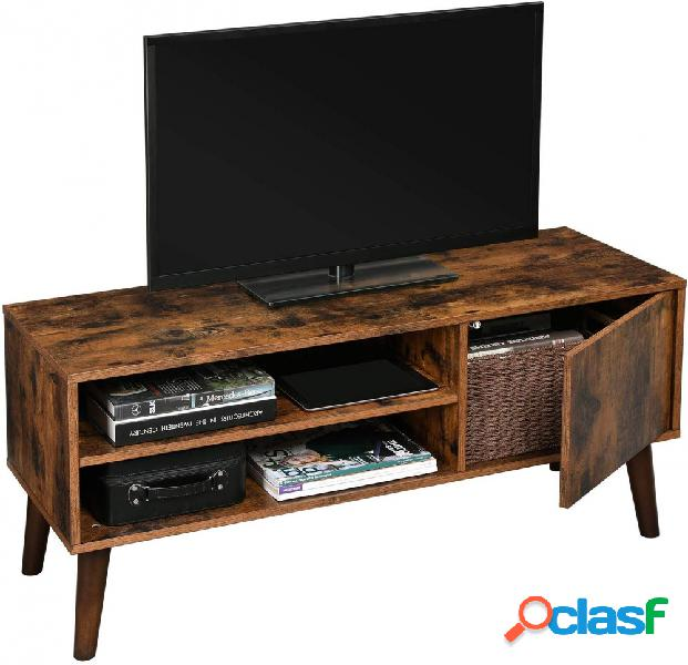 Base porta tv in stile industriale vintage con 1 anta e vano a giorno