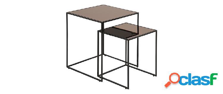 Tavolini bassi a scomparsa quadrati bronzo e vetro fum (gruppo di 2) pompei