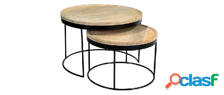 Tavolini bassi a scomparsa mango e metallo ledge