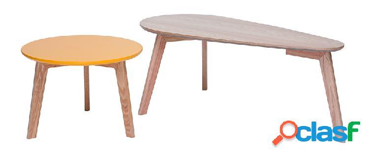 Tavolini bassi a scomparsa scandinavi rovere e giallo artik