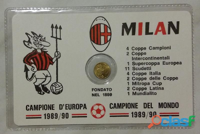 Ricordo di campionati mondiali di calcio Milan monetina sigillata placata in oro
