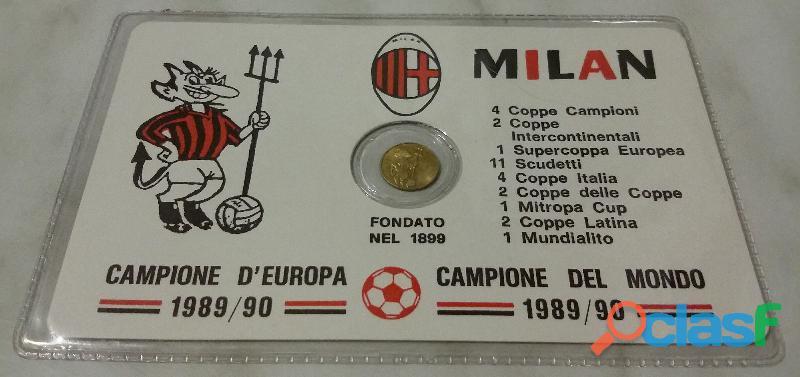 Ricordo di campionati mondiali di calcio Milan monetina sigillata placata in oro 2