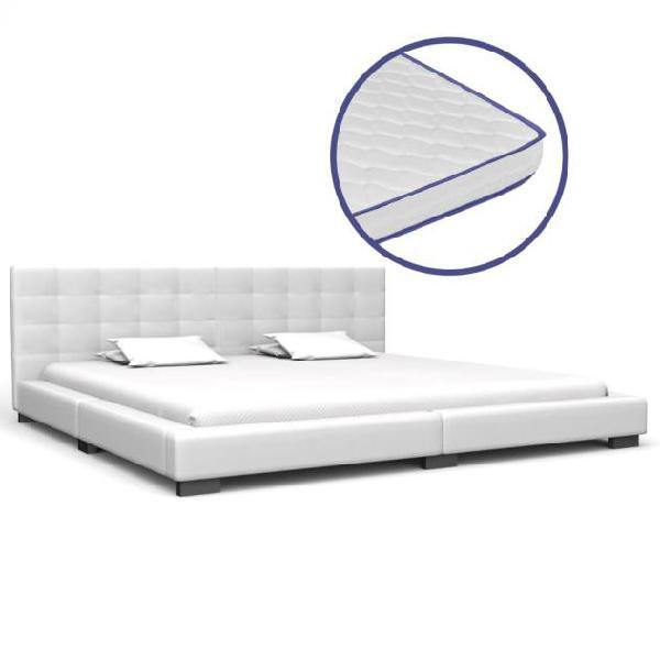 Vidaxl letto con materasso memory foam bianco in similpelle