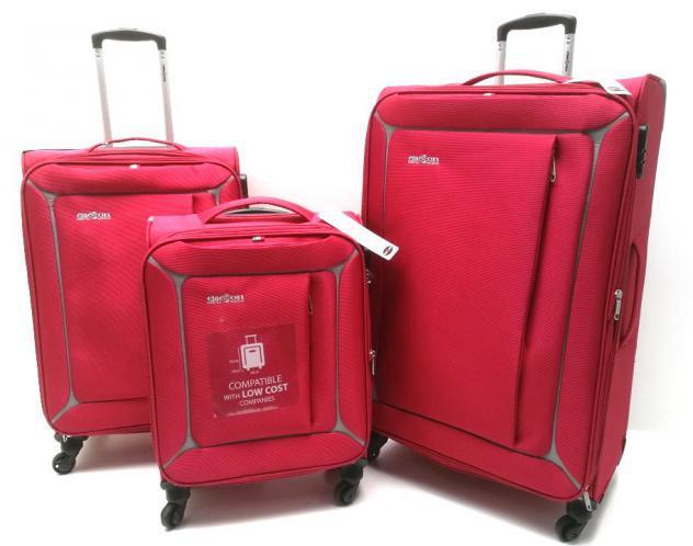 Set 3 valigie trolley morbide in nylon 4 ruote clacson rosse