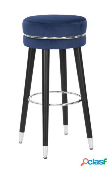 1 Sgabello Circolare Fisso in Velluto Blu e Dettagli Silver