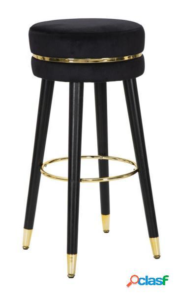 1 Sgabello Circolare Fisso in Velluto Nero e Dettagli Gold
