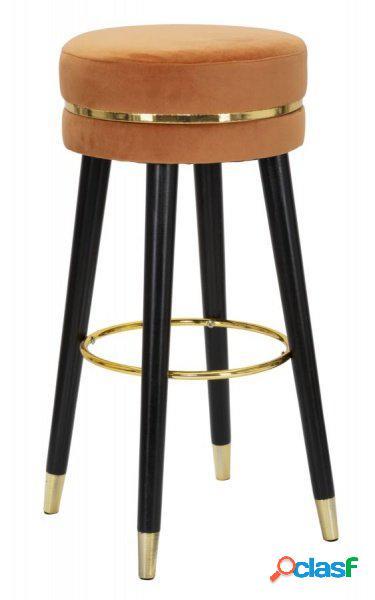 1 Sgabello Circolare Fisso in Velluto Ruggine e Dettagli Gold