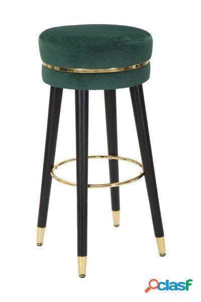 1 Sgabello Circolare Fisso in Velluto Verde e Dettagli Gold