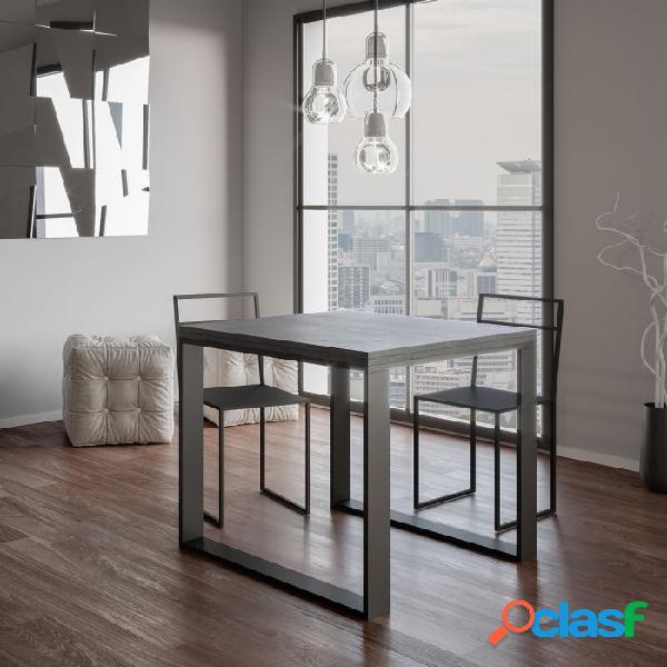 Tavolo allungabile quadrato 90x90 cm cemento minimal