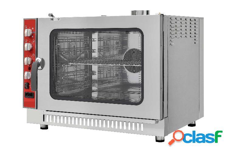 Forno a gas convezione-vapore-misto, comandi meccanici con umidificatore, per 5 teglie gn1/1 o 600x400 mm