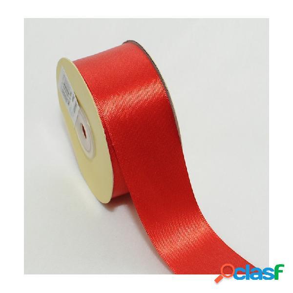 2 rotoli nastrino raso rosso 50 metri x 2,5 cm