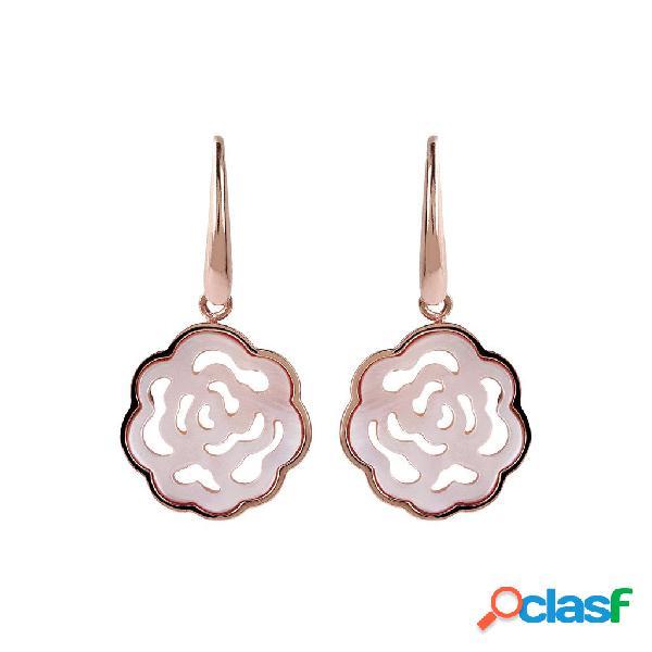 Orecchini madreperla a intaglio | rose gold / 3.60cm / madreperla rosa