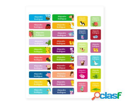Pack combi animali 52 pz. etichette termoadesive + adesive