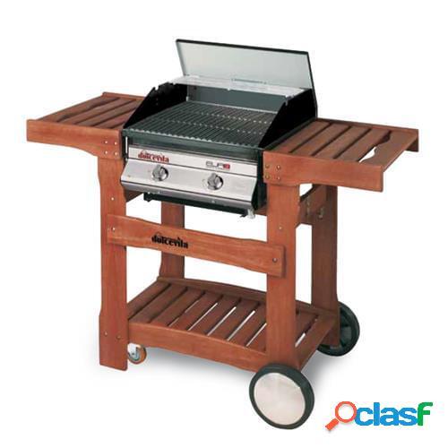 Barbecue a gas dolcevita euro 2 con safety controls e carrello in legno di eucalipto