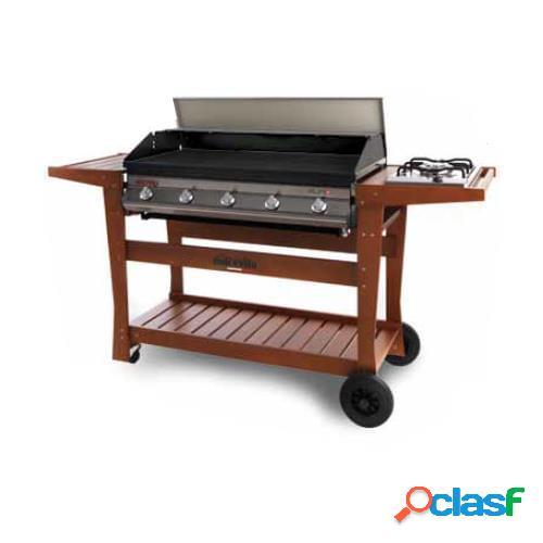 Barbecue a gas dolcevita euro 5 con safety controls e carrello in legno di faggio deluxe (piano cottura laterale optional)
