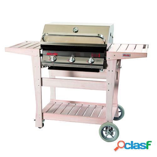 Barbecue a gas dolcevita euro 3 con safety controls e carrello in legno di faggio sbiancato