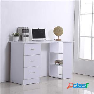 Scrivania per pc lima, 120x49x72cm, con cassetti e vani, legno bianco