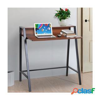 Scrivania per pc nelly, 84x45x85 cm, in metallo e legno color noce