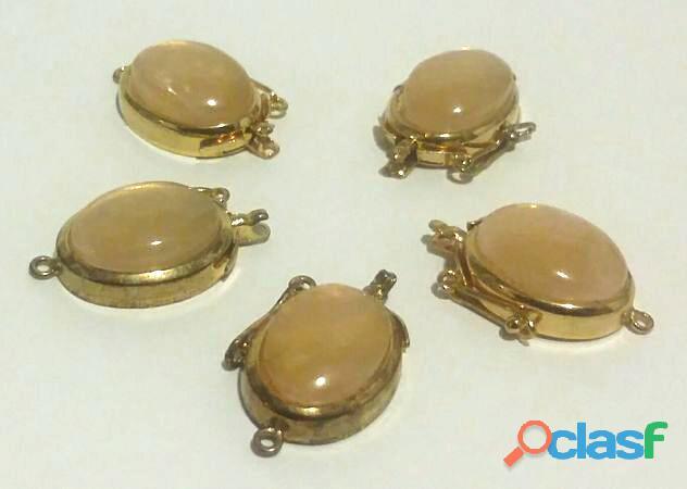 5 chiusure in argento dorato 925% con cabochon di quarzo rosa naturale nuovo