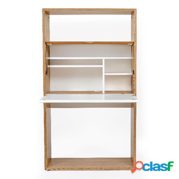 Scrivania loma rovere bianco in legno ingegnerizzato e massiccio, dimensioni 90 x 38 x h157 cm, peso 53 kg, finitura bianco, rovere