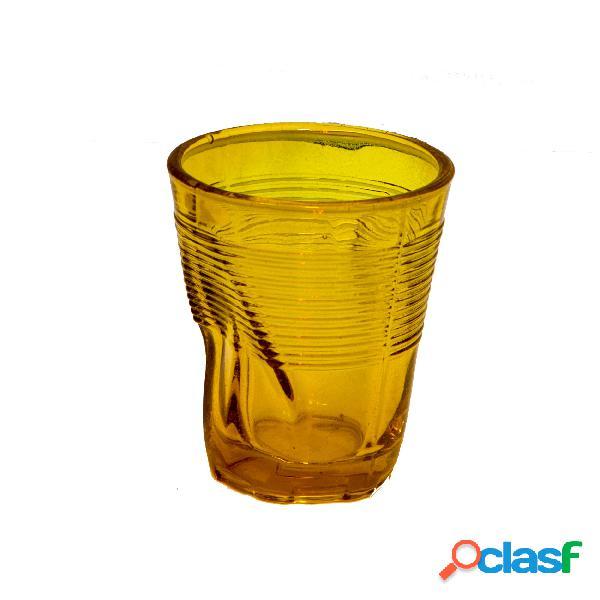 Bicchieri accartocciato acqua 6 pezzi diametro 8xh9 cm - 22 cl in vetro soffiato adatto alla lavastoviglie colore giallo