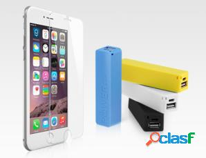 2 powerbank e vetro con panni iphone