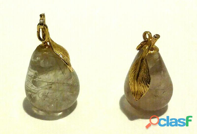 2 Ciondoli a forma di pera in quarzo rutilato naturale del Brasile anni '90 nuovo
