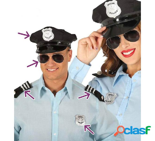 Kit da poliziotto: cappello, occhiali, galloni e distintivo