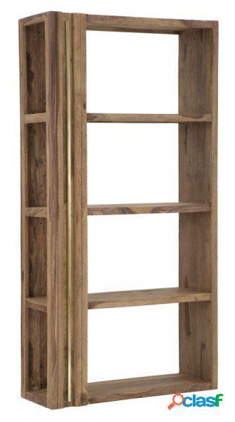Libreria scaffale in legno sheesham con laterale a vista