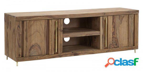 Porta televisore mobile soggiorno in legno sheesham ante e ripiani