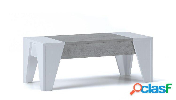 Tavolino contenitore con piana rialzabile bianco e cemento