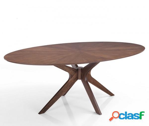 Tavolo fisso ovale in legno massello piedi centrali moderno