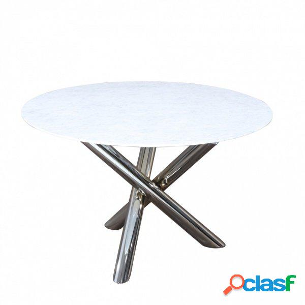 Tavolo fisso rotondo con piedi centrali vero marmo varie forme