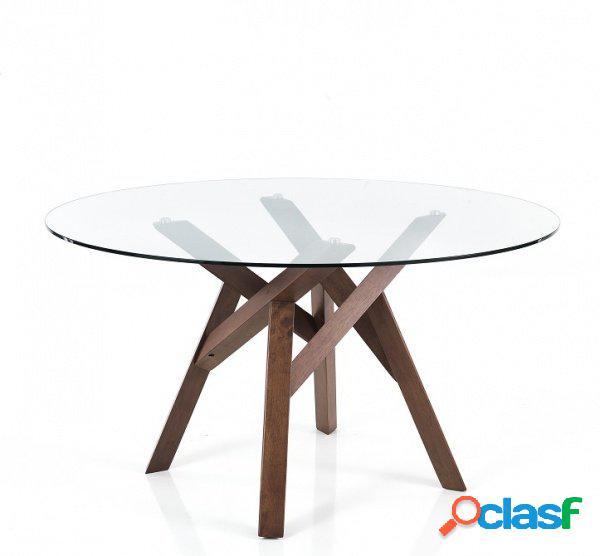 Tavolo fisso rotondo legno massello piedi centrali e vetro