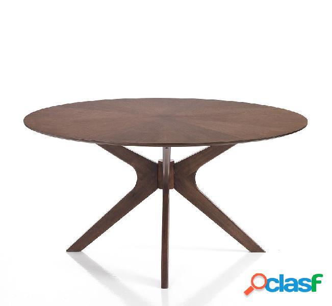 Tavolo fisso rotondo legno massello piedi centrali moderno