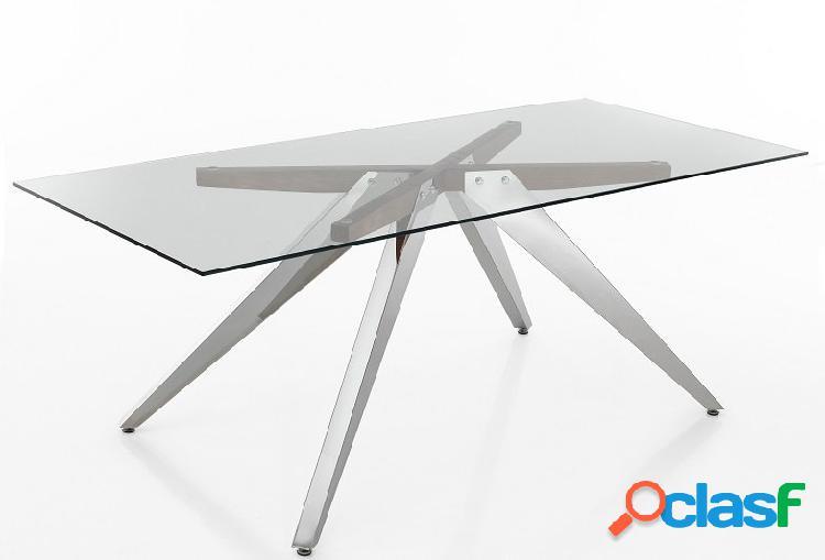Tavolo moderno in vetro alluminio e legno massello 90x200 cm