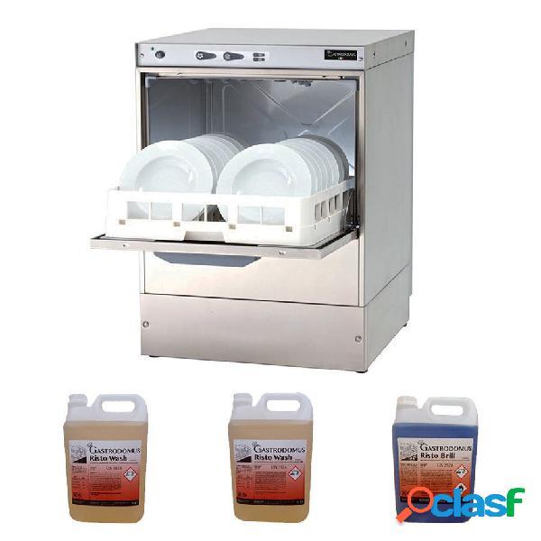 Lavastoviglie trifase elettronica 50x50x32cm con dosatore brillantante e detergente + 2 taniche detergente e 1 brillantante