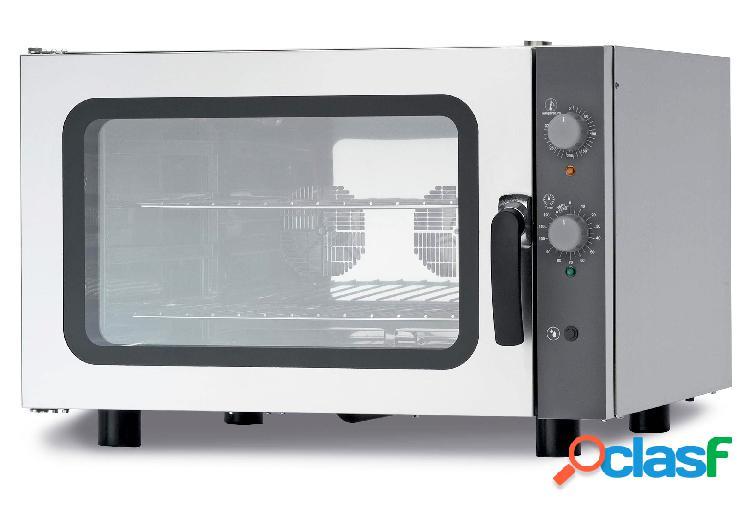 Forno elettrico a convezione per gastronomia,umidificatore,porta bandiera,comandi meccanici, monofase, 4 teglie gn 1/1 530x325mm