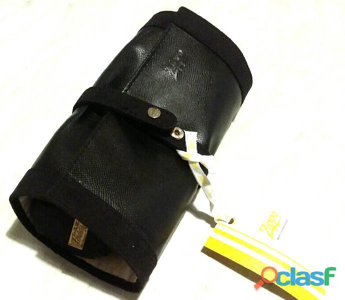 """Rotolo porta gioielli da valigia/borsa/ecc. in semilpelle """"Zippo"""" nuovo"""