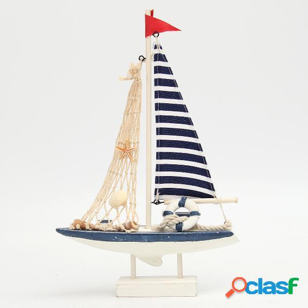 Nuova decorazione nautica marina in legno blu barca a vela nave partito home decor piccolo