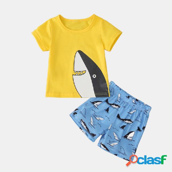 Ragazzo carino squalo stampa fumetto maniche corte + pantaloni abbigliamento casual impostato per 1-7 anni