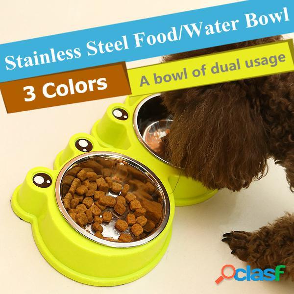 3 colori animali domestici del fumetto della rana di stile dell'alimento dell'alimento del gatto del cane gatto dell'acciaio inossidabile non slittare l'alimento di alimentazione