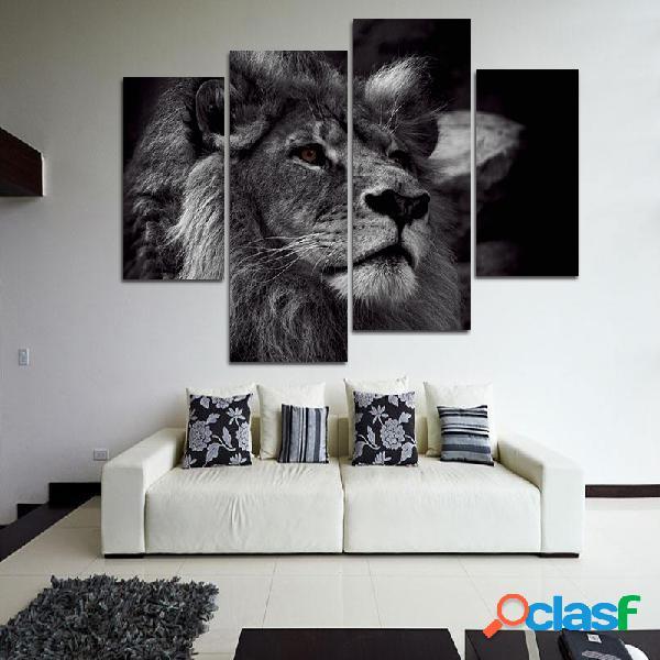 Lion head wall art for home decorazioni dipinte a mano con quattro dipinti