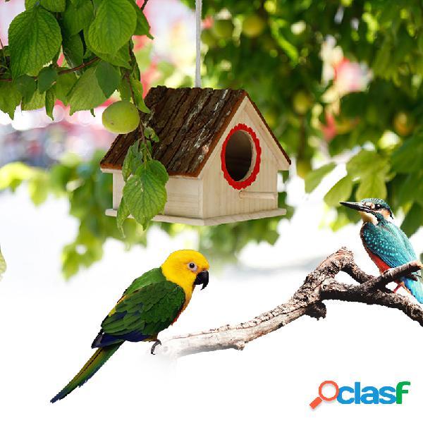 Creativo nido di uccello simulato a forma di casa di corteccia allevamento di uccelli scatola giocattoli per animali domestici