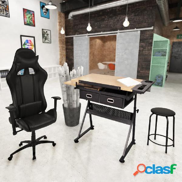 Vidaxl tavolo da disegno inclinabile con sedia da ufficio