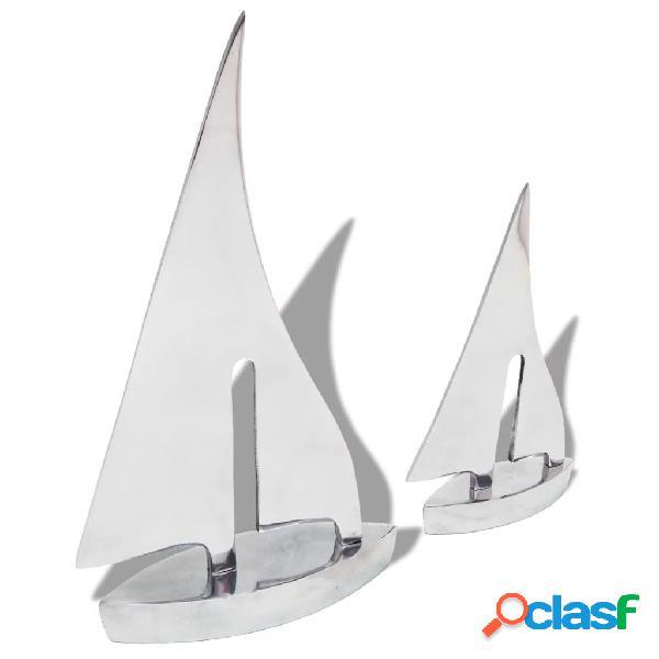 Vidaxl decorazione barca a vela da due pezzi argento in alluminio
