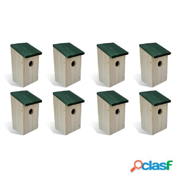 Vidaxl casette per gli uccelli 8 pz in legno 12x12x22 cm