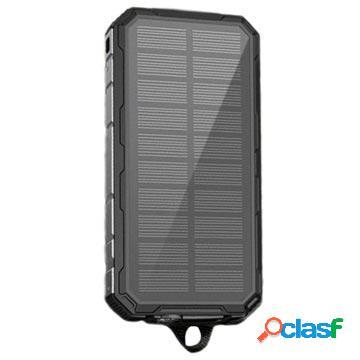 Power bank / batteria solare resistente agli spruzzi - 20000mah - nero