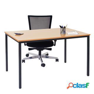 Tavolo per ufficio demi, struttura in metallo e ripiano in legno color faggio.