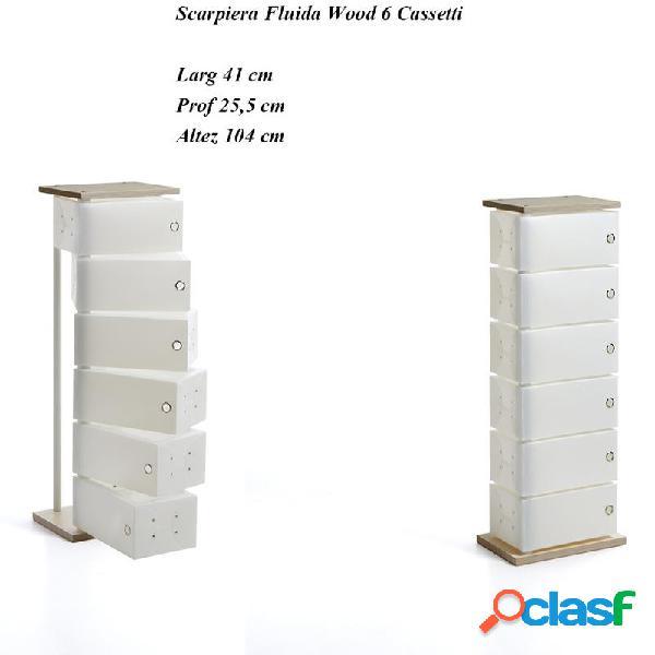 Scarpiera contenitore multiuso fluida wood 6 cassetti 45x25.5xh104 cm